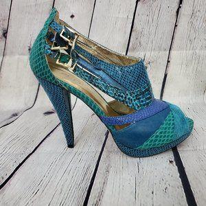 Aldo Green Blue Suede leather snakeskin heels 39 9